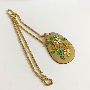 Vintage Boho Flower Copper Pendant Necklace